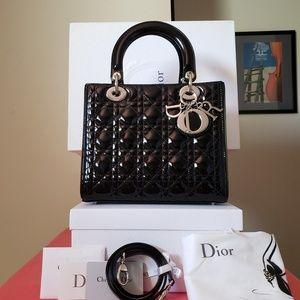 New lady Dior medium black patent bag silver HW
